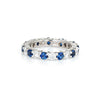 Diamond Sapphire Eternity Ring Sz 6 Platinum Estate Fine Jewelry Gemstone Band