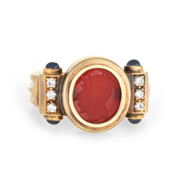 Carnelian Intaglio Ring Warrior Estate 18k Yellow Gold Diamond Sapphire Jewelry