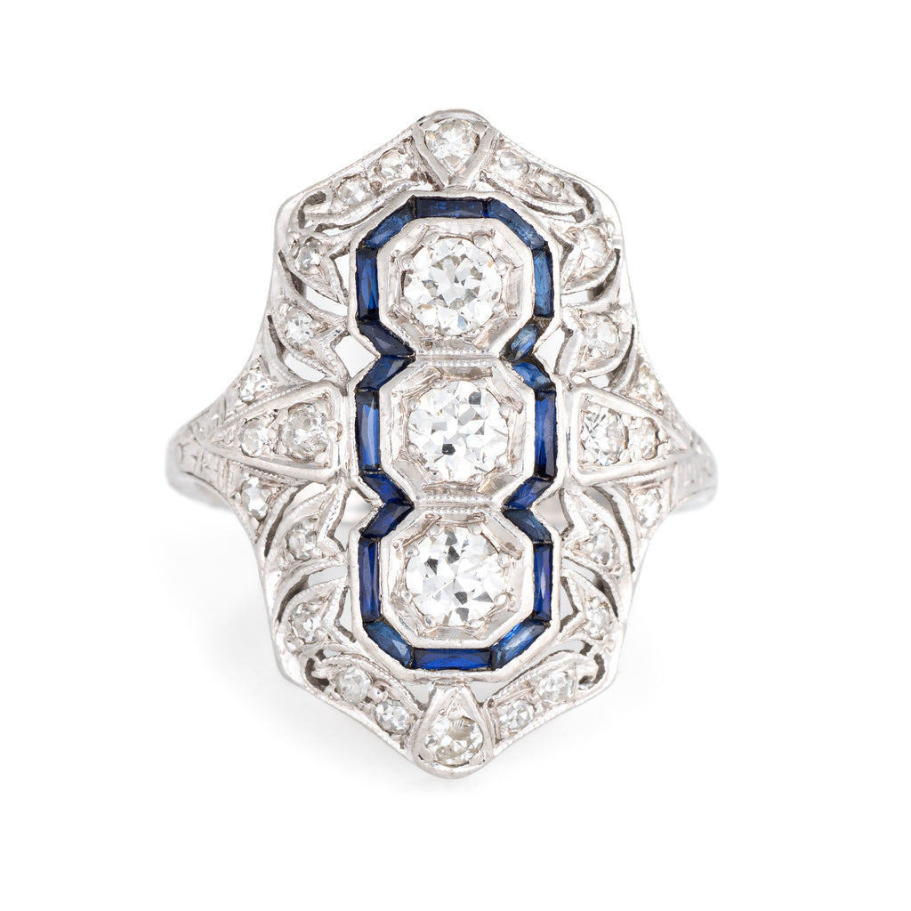Art Deco Engagement Ring with French Sapphires