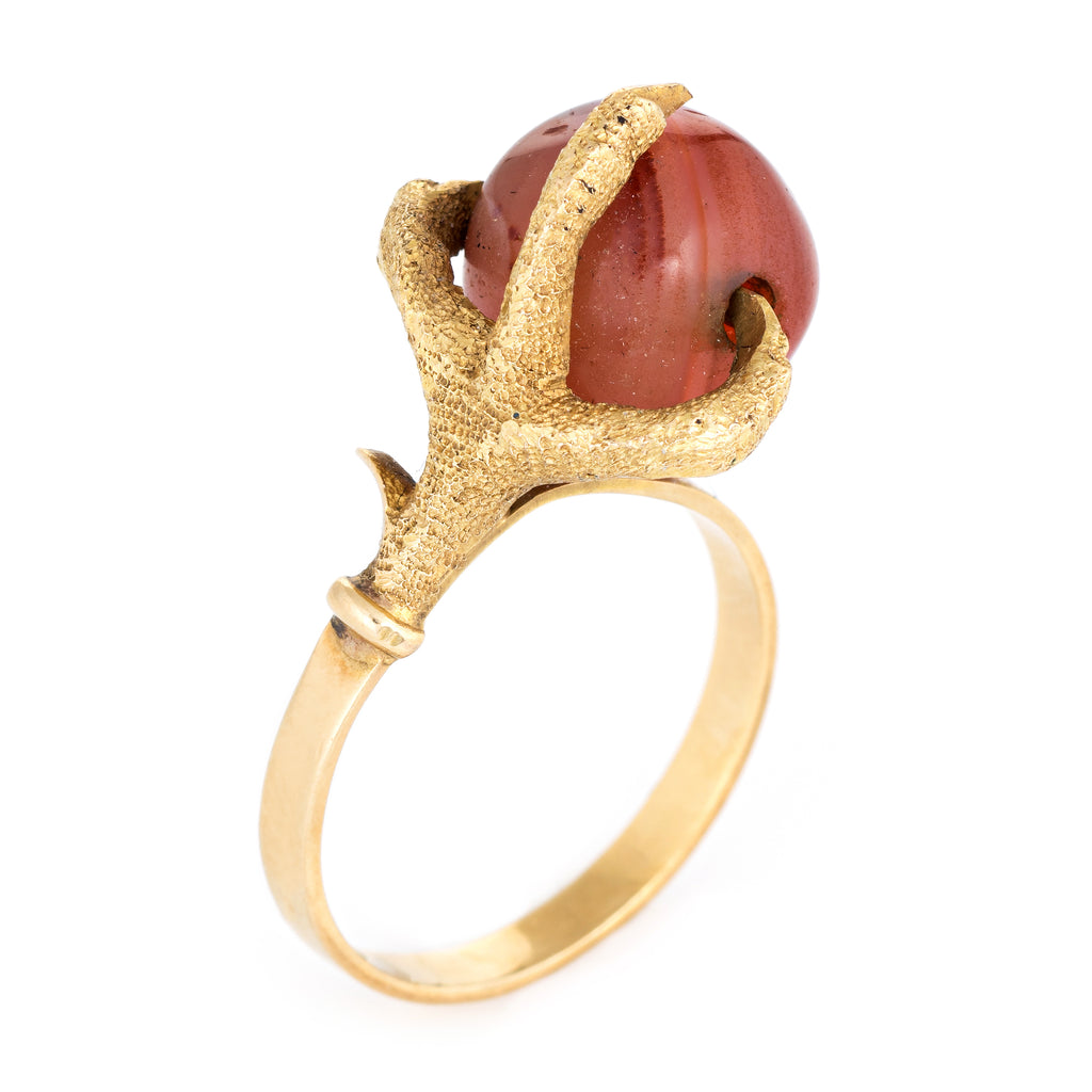 Vintage Dragon Claw Ring 14k Yellow Gold Agate Orb Estate Fine Jewelry 6.75
