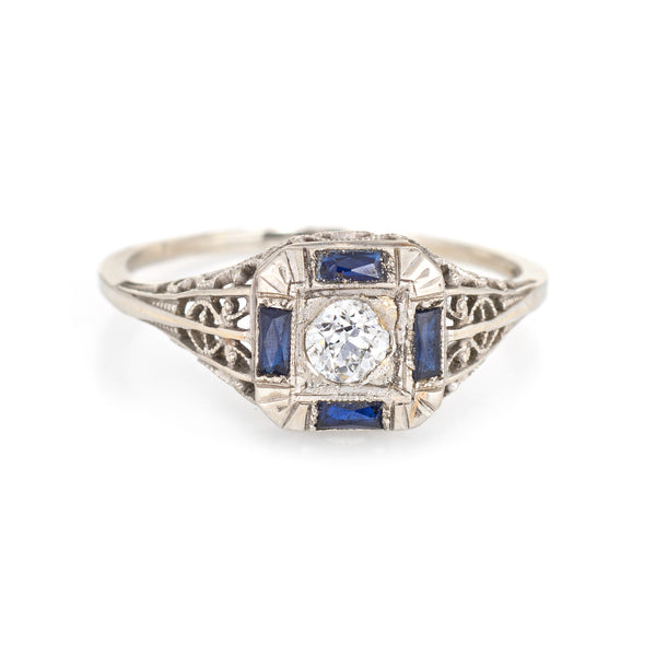 Antique Deco Diamond Sapphire Ring Filigree 14k White Gold Square Fine Jewelry