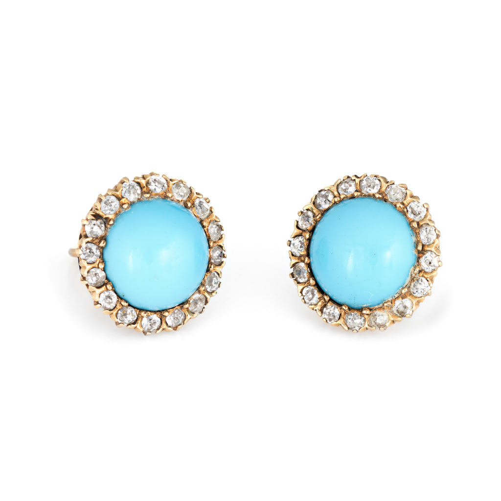 Antique Victorian Diamond Turquoise Halo Earrings Vintage 14k Yellow Gold Fine