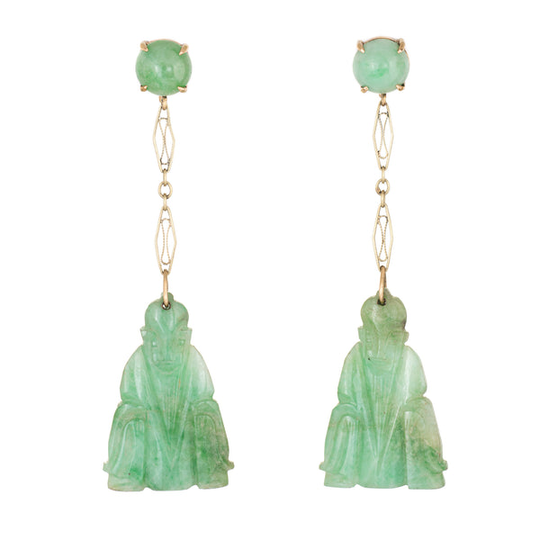 Carved Jade Buddha Earrings Vintage 14k Yellow Gold Dangle Estate Fine Jewelry