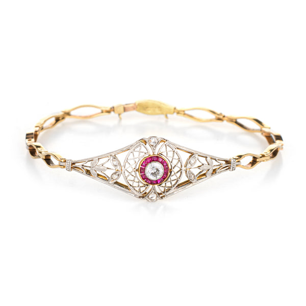 Antique Edwardian Diamond Ruby Bracelet Platinum 14k Gold Vintage Fine Jewelry