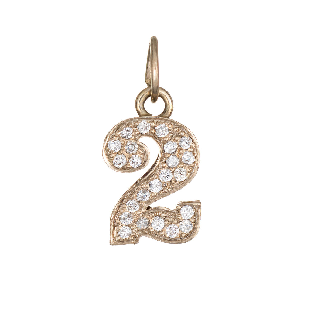 Vintage Number 2 Two Charm Pendant Vintage 14k Yellow Gold Estate Fine Jewelry