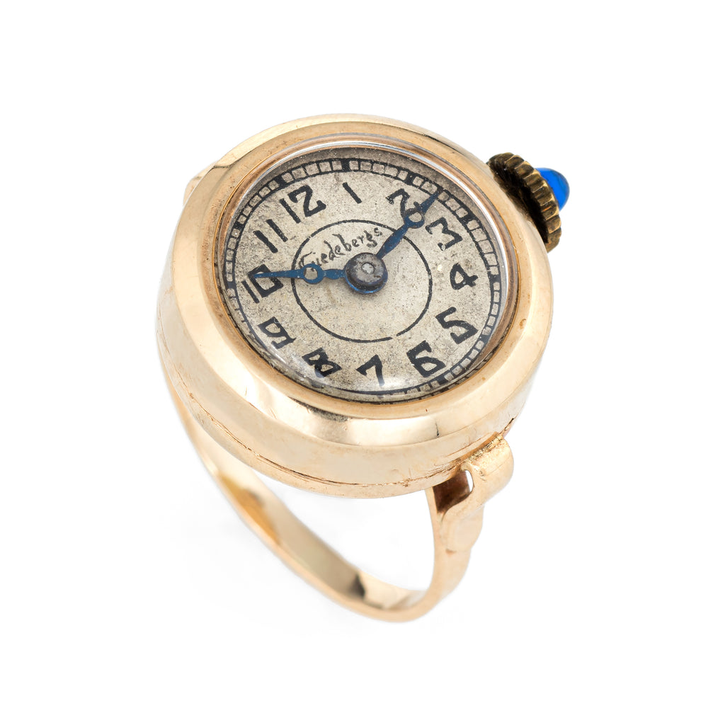 Vintage Ring Watch 14k Yellow Gold Friedebergs Mechanical Wind Up Jewelry Round