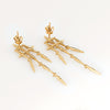 Diamond Star Drop Earrings Estate 14k Yellow Gold Jewelry 1.75