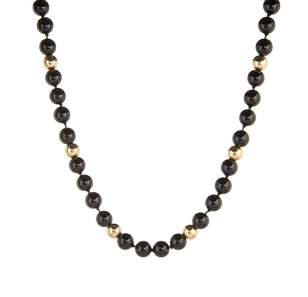 Vintage 10mm Onyx Necklace Long 40
