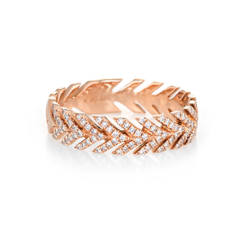 Diamond Wreath Band Estate 14k Rose Gold Sz 7.5 Fine Jewelry Stacking Stacker