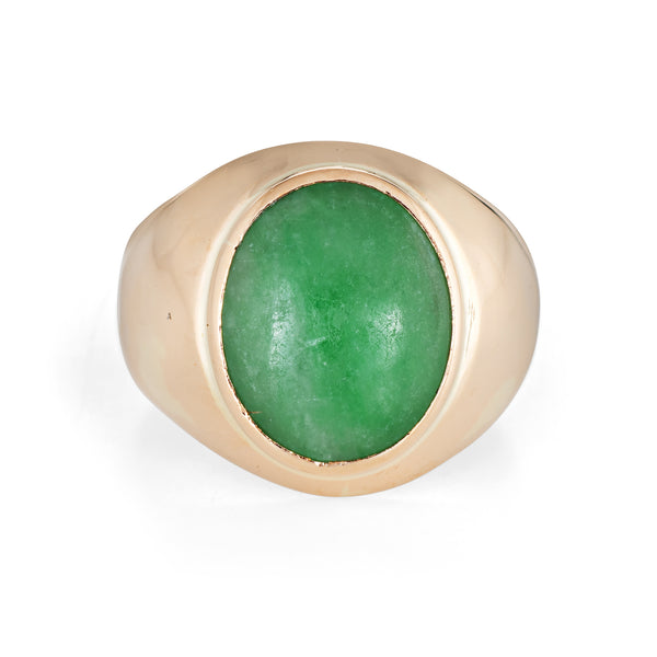 Vintage Jade Ring 18k Yellow Gold Oval Signet Estate Fine Jewelry Sz 6 Mens