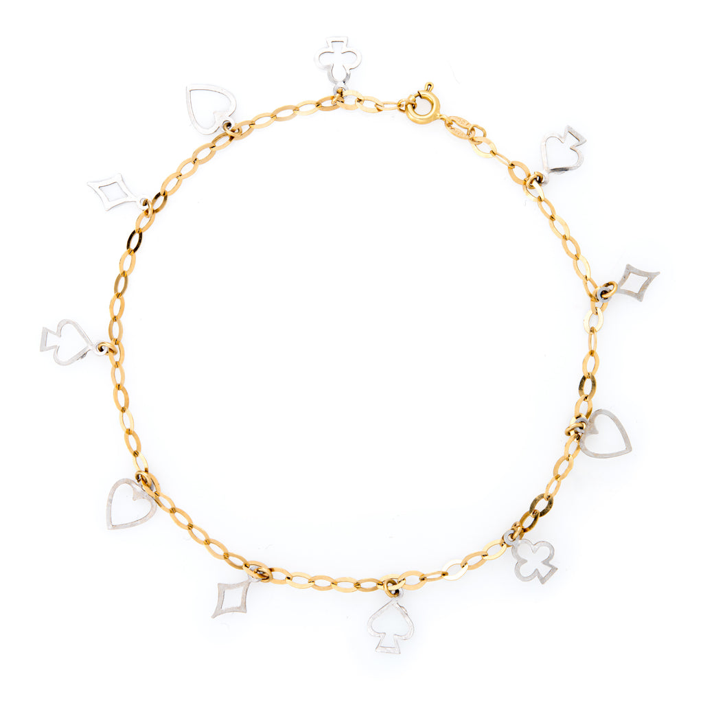 Deck of Cards Anklet 18k Two Tone Gold 9.75