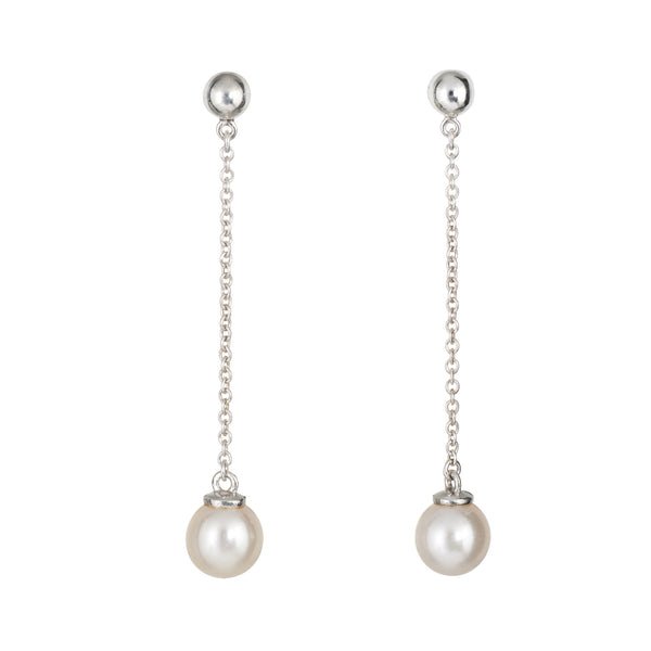 Tiffany & Co Ziegfeld Pearl Drop Earrings Sterling Silver Estate Fine Jewelry