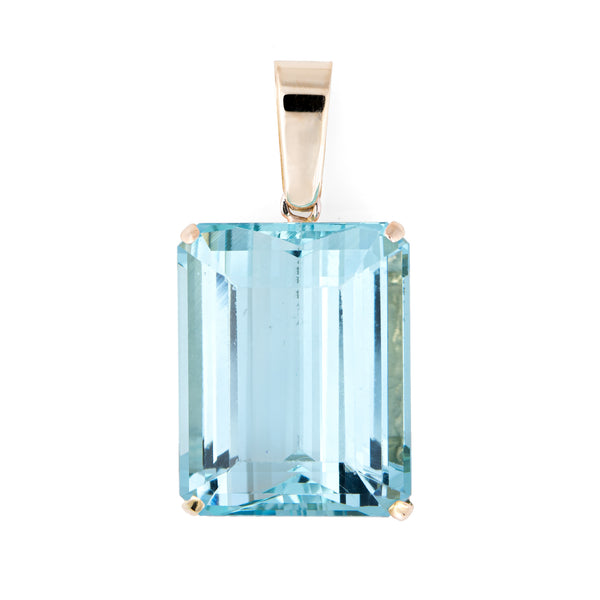 Large 40ct Aquamarine Pendant Vintage 14k Yellow Gold Emerald Cut Medium Blue