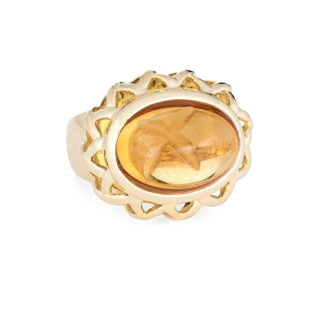 Tiffany & Co Paloma Picasso Citrine Ring Vintage 18k Yellow Gold East West 5.75
