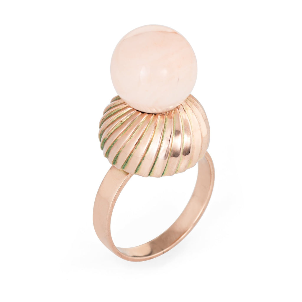 Vintage Angel Skin Coral Ring 14k Rose Gold Cocktail Jewelry Estate Fine 6 3/4