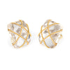 Seaman Schepps Earrings Rock Crystal 18k Gold Large Square Cage Vintage Jewelry
