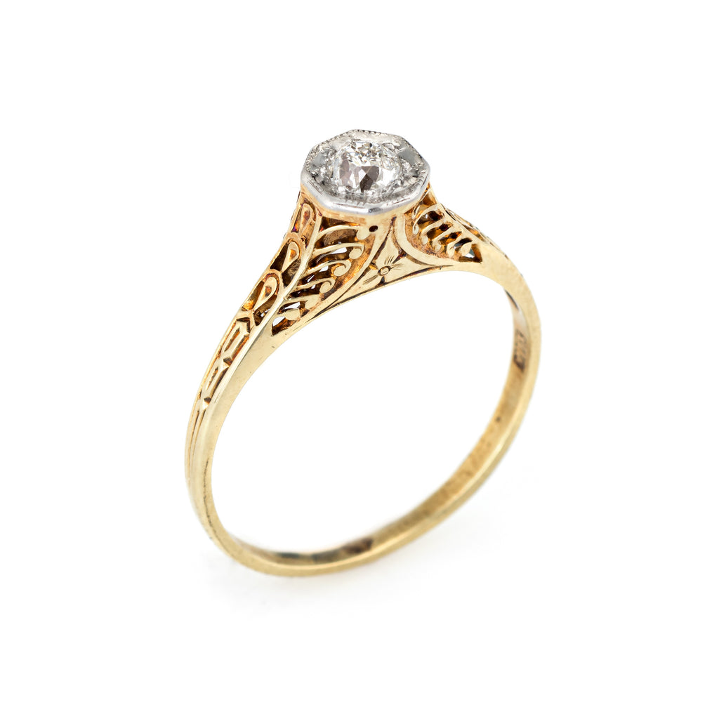 Antique Deco Diamond Engagement Ring 14k Yellow Gold Filigree Vintage Jewelry