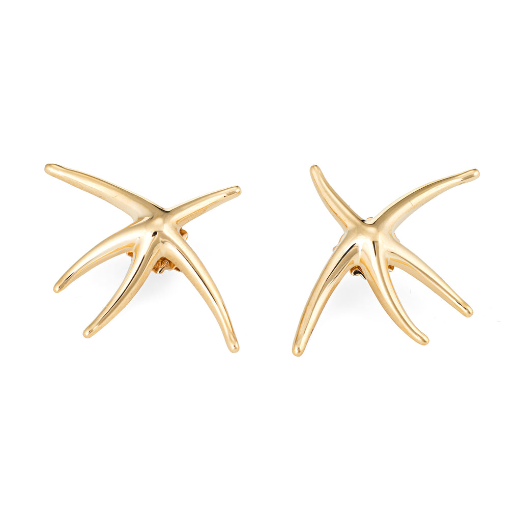 Tiffany & Co Large Starfish Earrings Vintage 18k Yellow Gold Estate Fine Jewelry