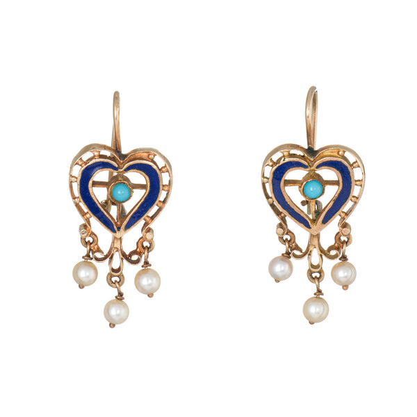 Vintage Heart Earrings 18k Yellow Gold Turquoise Pearl Enamel Estate Jewelry