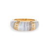 Banded Agate Diamond Ring Vintage 18k Yellow Gold Dome Band Jewelry Stacking