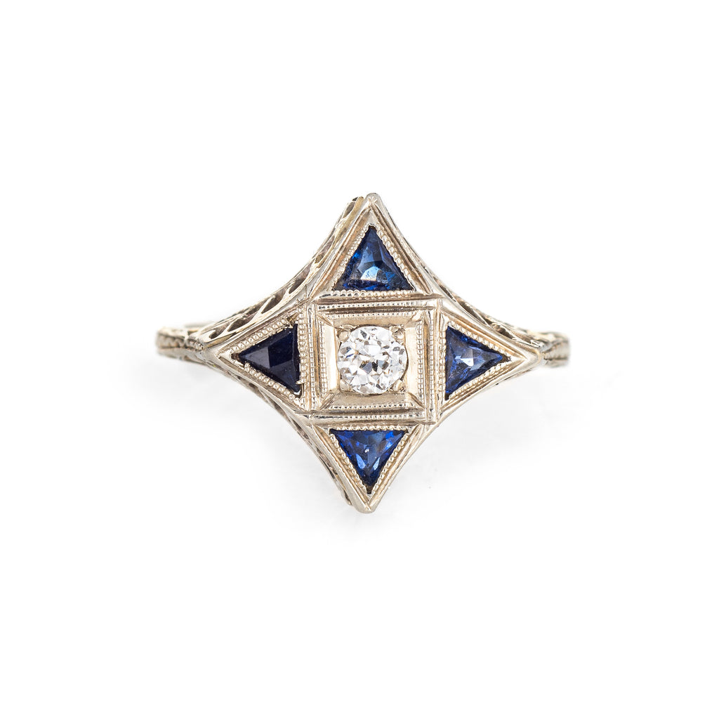 Vintage Art Deco Diamond Sapphire Ring Star Point 18k White Gold Antique Jewelry