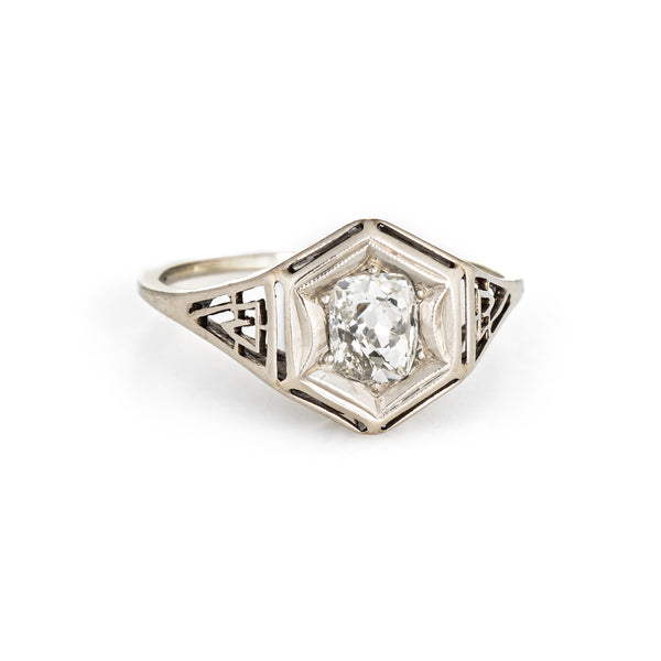Antique Deco 1.35ct Diamond Engagement Ring 14k White Gold Filigree Vintage