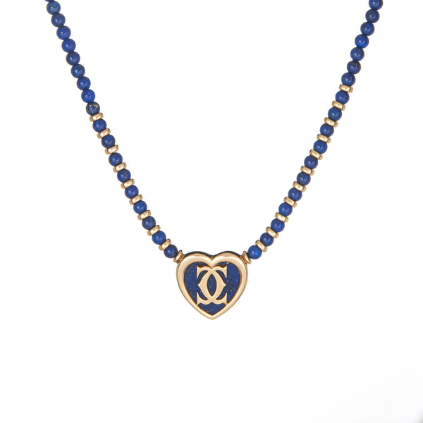 Cartier Lapis Lazuli Heart Necklace c1984 18k Yellow Gold COA Estate Jewelry 15