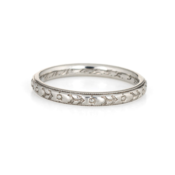 Antique Deco Wedding Band Sz 6.5 18k White Gold Flower Pattern Vintage Jewelry