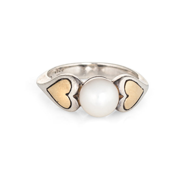 Cartier Cultured Pearl Ring Vintage Hearts 18k Gold Sterling Silver 5.25 Estate