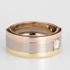 Vintage Cartier Diamond Band Sz 53 6 1/4 18k Tri Gold Wedding Ring Fine Jewelry
