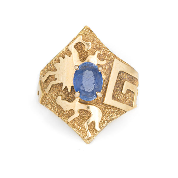 Ben Nighthorse Sapphire Ring Double V Rock Art Estate 18k Yellow Gold Sz 7.5