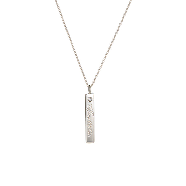 Tiffany & Co Diamond Bar Necklace Notes Estate Sterling Silver 16