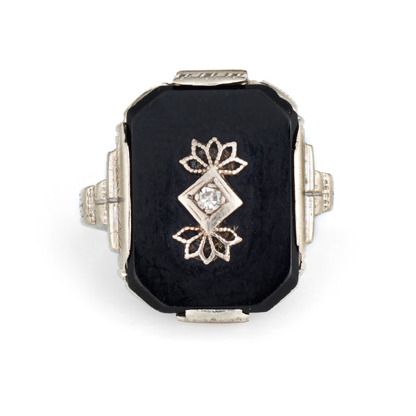 Antique Deco Onyx Diamond Ring 10k White Gold Square Estate Fine Jewelry 5