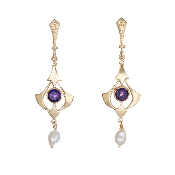 Amethyst Pearl Drop Earrings Vintage 14k Yellow Gold 2