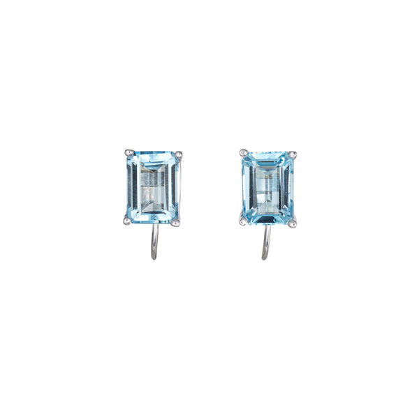 3ct Blue Topaz Earrings Estate 14k White Gold Emerald Cut Jewelry Screw Backings