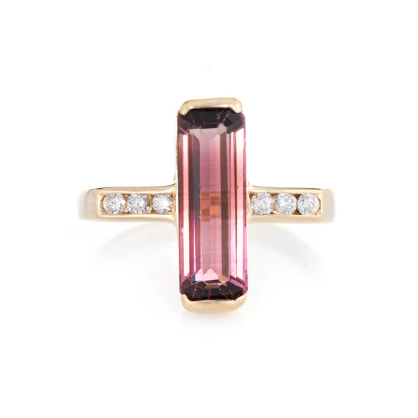 Elongated Pink Tourmaline Diamond Ring Vintage 18k Yellow Gold Estate Jewelry