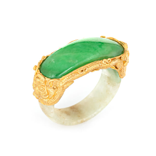 Jade Bridge Ring Vintage 22k Yellow Gold Sz 5.25 Dragon Estate Fine Jewelry