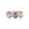 Colored Sapphire Diamond Ring Estate 14k Gold Rainbow Oval Trilogy Vintage 9