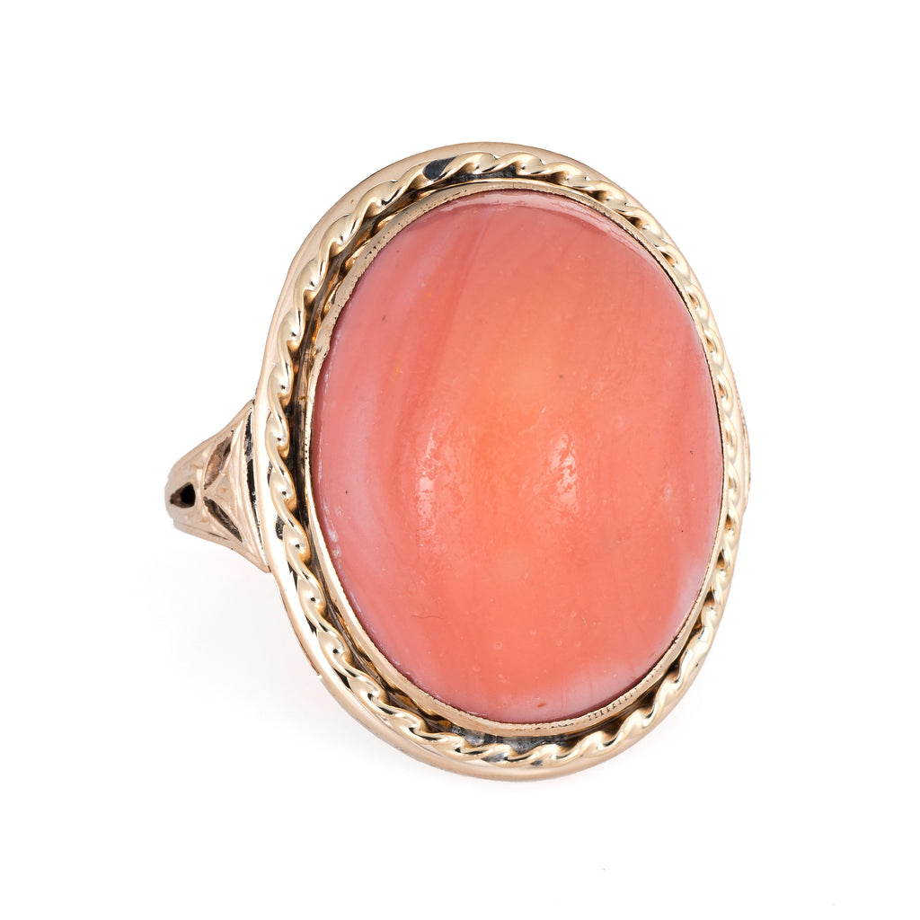 Vintage Coral Ring 10k Yellow Gold Large Oval Estate Fine Jewelry Cocktail Sz 6