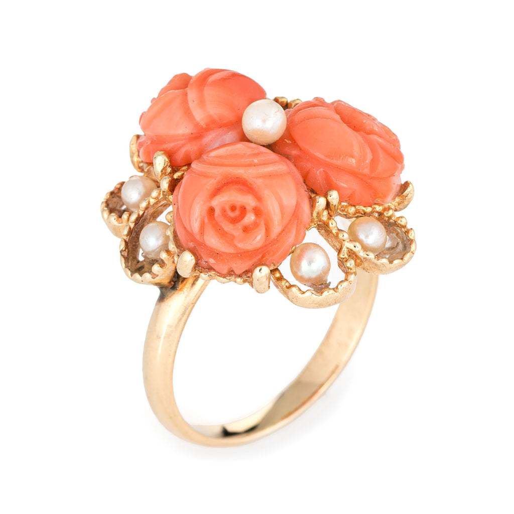 Carved Coral Flower Ring Pearl Vintage 14k Gold Cluster Jewelry Estate Cocktail