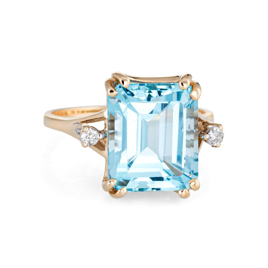 Square Blue Topaz Diamond Ring Vintage 14k Yellow Gold Estate Cocktail Jewelry