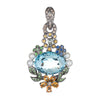 Blue Topaz Multi Gemstone Pendant Enhancer 18k White Gold Flower Leaves Jewelry