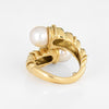 Tiffany & Co Bypass Ring Vintage Cultured Pearl 18k Yellow Gold Rope Twist Sz 5