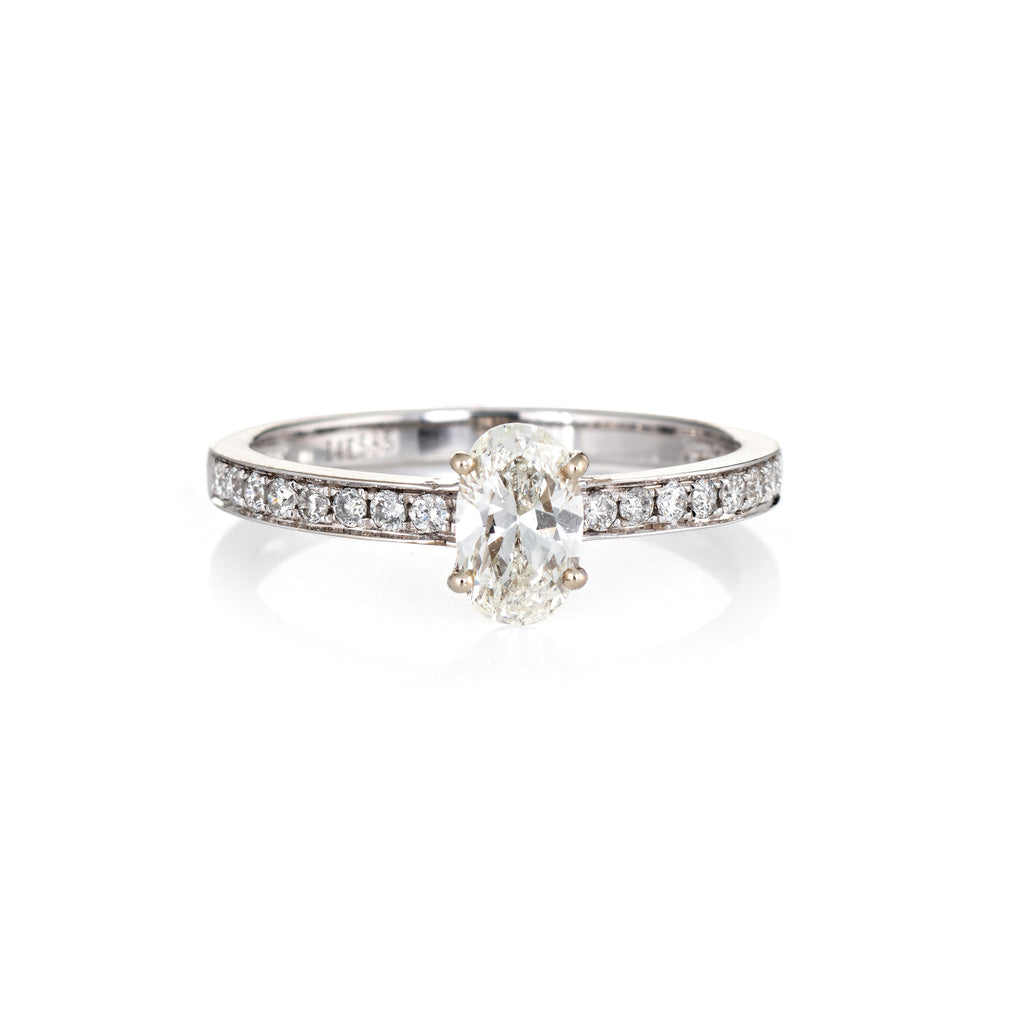 Oval Cut 0.86ct Diamond Engagement Ring Estate 14k White Gold Fine Bridal 6.75