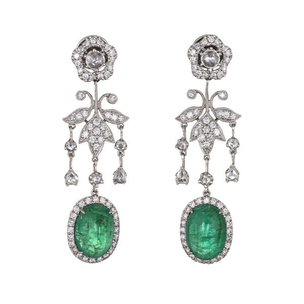 9ct Emerald 1.50ct Diamond Earrings Estate 14k White Gold Flower Drop Jewelry