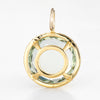 Prasiolite Diamond Halo Pendant 18k Yellow Gold Round Enhancer Estate Jewelry