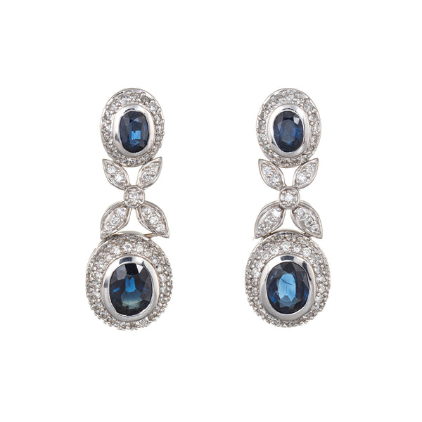 Effy Bita Diamond Sapphire Earrings Estate 18k White Gold Drop Dangle Jewelry