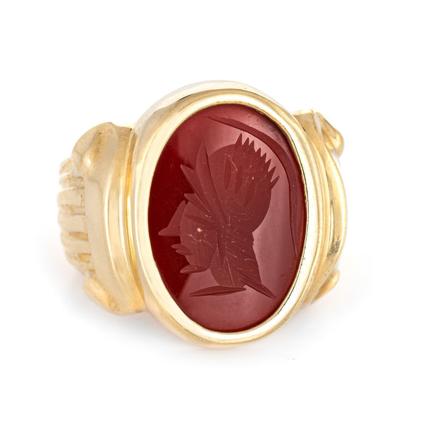 Carnelian Intaglio Ring Vintage 14k Yellow Gold Sz 7 Estate Fine Jewelry Warrior