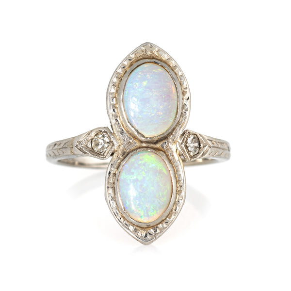 Vintage Art Deco Double Opal Diamond Ring 18k White Gold Antique Fine Jewelry 4