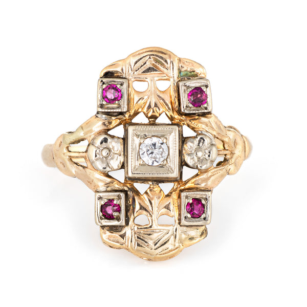 Diamond Ruby Shield Ring Vintage 14k Yellow Gold Square Estate Fine Jewelry 5.75